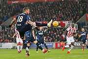 Leeds United defender Pontus Jansson (18) fails to connect with a free kick during the EFL Sky Bet Championship match between Stoke City and Leeds United at the Bet365 Stadium, Stoke-on-Trent, England on 19 January 2019.
