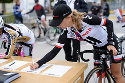 Leah Kirchmann signs in for the Crescent Vargarda - a 152 km road race, starting and finishing in Vargarda on August 13, 2017, in Vastra Gotaland, Sweden. (Photo by Sean Robinson/Velofocus.com)