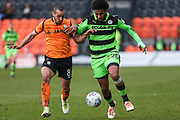 Forest Green Rovers Dayle Grubb(8) runs forward under a challenge from Barnet's Curtis Weston(8) during the EFL Sky Bet League 2 match between Barnet and Forest Green Rovers at The Hive Stadium, London, England on 7 April 2018. Picture by Shane Healey.