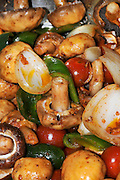 Antipasti with mushrooms, Onions, tomatoes  and peppers