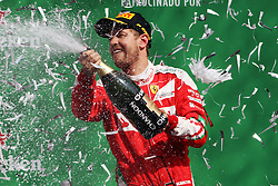 Formel 1: GP von Mexiko 2016 - Rennen in Mexiko-Stadt / 301016<br /> <br /> ***Sebastian Vettel (GER) Ferrari celebrates his third position on the podium.<br /> 30.10.2016. Formula 1 World Championship, Rd 19, Mexican Grand Prix, Mexico City, Mexico, Race Day.<br /> Copyright: Photo4 / XPB Images / action press ***