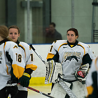 3rd year goalie Jane Kish (31) of the Regina Cougars in action during the Women's Hockey Homeopener on October 7 at Co-operators arena. Credit: Arthur Ward/Arthur Images
