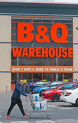 ©Licensed to London News Pictures 30/04/2020  <br /> Dartford, UK. A shopper pushing a full trolley back to the car outside B&Q warehouse store in Dartford, Kent. B&Q have today opened all of its 288 stores in the UK. The DIY retailer has strict social distancing measures in place. Photo credit:Grant Falvey/LNP