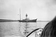 """Sea Scouts aboard the Lightship """"Albatross""""..1972..22.07.1972..07.22.1972..22nd July 1972..Pictured berthed in Dun Laoghaire Harbour is the Lightship """"Albatross""""..The """"Albatross was built by H.Robb,Leith,Scotland for the Commissioners of Irish Lights,Dublin. In 1970 the ship ,at the end of its working life,was sold to the Sea Scouts of Ireland for use as a Cadet Training Ship. Emblazoned on the side of the ship is the Scout Logo.."""