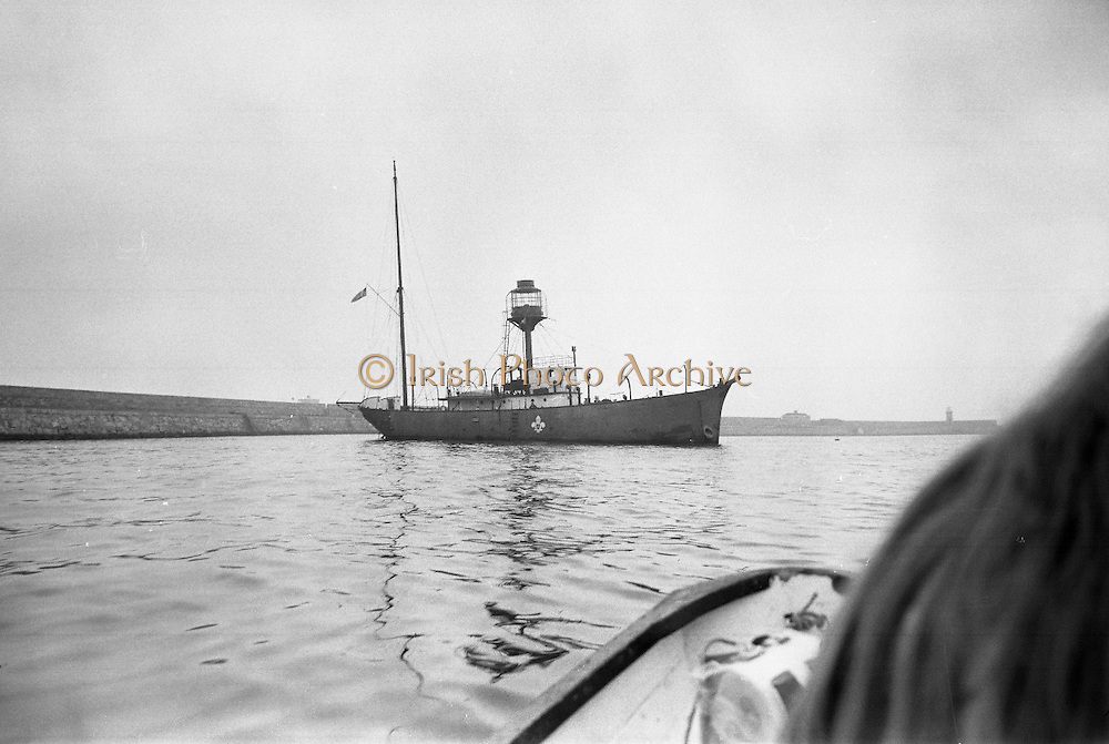 "Sea Scouts aboard the Lightship ""Albatross""..1972..22.07.1972..07.22.1972..22nd July 1972..Pictured berthed in Dun Laoghaire Harbour is the Lightship ""Albatross""..The ""Albatross was built by H.Robb,Leith,Scotland for the Commissioners of Irish Lights,Dublin. In 1970 the ship ,at the end of its working life,was sold to the Sea Scouts of Ireland for use as a Cadet Training Ship. Emblazoned on the side of the ship is the Scout Logo.."