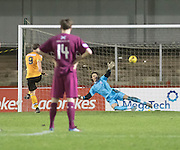 Annan's Peter Weatherson fires home his side's late consolation goal from the penalty spot - Arbroath v Annan Athletic, Ladbrokes SPFL League two at Gayfield<br /> <br />  - &copy; David Young - www.davidyoungphoto.co.uk - email: davidyoungphoto@gmail.com