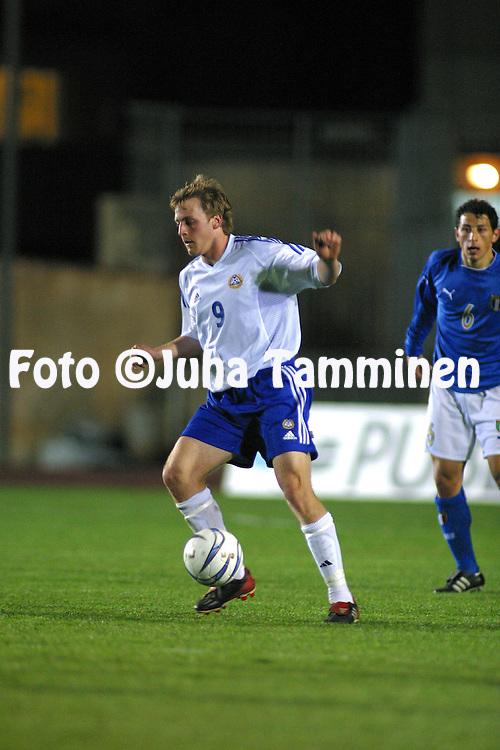 28.03.2003, Stadio Provinciale, Trapani, Italy..UEFA Under-21 Qualifying match, Italy v Finland..Daniel Sj?lund - Finland U-21.©Juha Tamminen