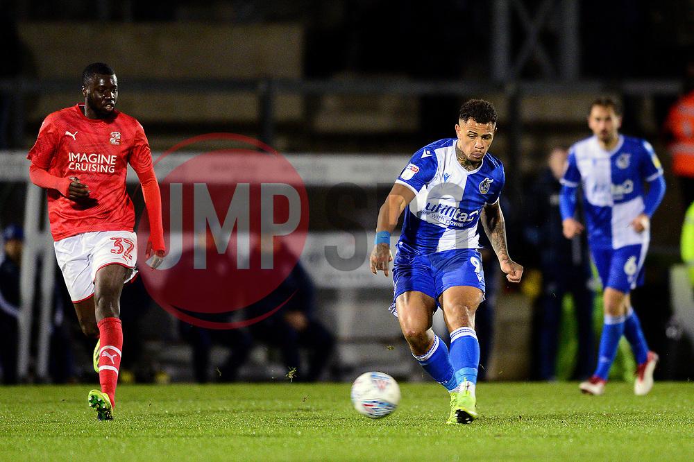 Jonson Clarke-Harris of Bristol Rovers takes a shot at goal - Mandatory by-line: Dougie Allward/JMP - 13/11/2019 - FOOTBALL - Memorial Stadium - Bristol, England - Bristol Rovers v Swindon Town - Leasing.com Trophy