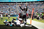 December 24, 2016: Carolina Panthers vs Atlanta Falcons. Atlanta Falcon Perkins scores a touch down