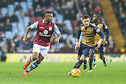 Aston Villa's Leandro Bacuna on the ball during the Barclays Premier League match between Aston Villa and Arsenal at Villa Park, Birmingham, England on 13 December 2015. Photo by Shane Healey.