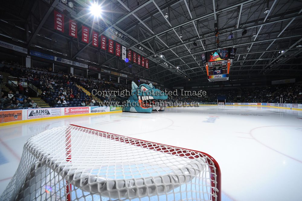 KELOWNA, CANADA, OCTOBER 5: Prospera Place crowd awaits the arrival of the Kelowna Rockets to the ice on October 5, 2011 at Prospera Place in Kelowna, British Columbia, Canada (Photo by Marissa Baecker/shootthebreeze.ca) *** Local Caption ***