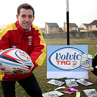Alan Considine - venue manager with Volvic Tag Summer Leagues at Ennis RFC and Brain Nevin commercial manager Irish Tag Rugby Association at the launch of Volvic Tag Rugby in Clare. <br /><br />Photograph by Yvonne Vaughan.