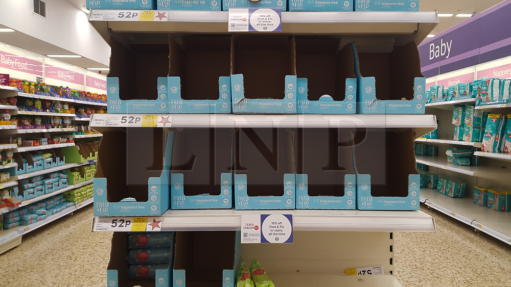 © Licensed to London News Pictures. 08/03/2020. London, UK. Tesco store in London runs out of baby wipes amid an increased number of cases of Coronavirus (COVID-19) in the UK. Major supermarkets including Tesco, have started to ration certain products after shoppers began to stockpile. 273 cases in the UK have tested positive of the virus. Photo credit: Dinendra Haria/LNP