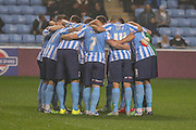 Coventry City huddle up during the Sky Bet League 1 match between Coventry City and Barnsley at the Ricoh Arena, Coventry, England on 3 November 2015. Photo by Simon Davies.