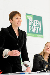 © Licensed to London News Pictures. 02/05/2017. London, UK. Caroline Lucas MP, Co-Leader of the Green Party, speaks as Sian Berry, Green London Assembly Member, looks on at the Green Party launch of their Brexit policy in Hackney. Photo credit : Stephen Chung/LNP