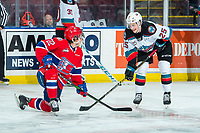 KELOWNA, BC - JANUARY 31: Former teammates Tyson Feist #25 of the Kelowna Rockets and Luke Toporowski #22 of the Spokane Chiefs chat during pre game warm up at Prospera Place on January 31, 2020 in Kelowna, Canada. (Photo by Marissa Baecker/Shoot the Breeze)