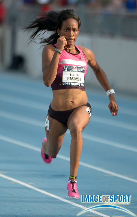 Jun 21, 2013; Des Moines, IA, USA; English Gardner wins the womens 100m in 10.85 in the 2013 USA Championships at Drake Stadium.