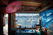 Marin City, April 6 2012 - Inside the Vallejo, a floating house previously owned by Alan Watts.