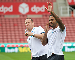 STOKE-ON-TRENT, ENGLAND - Sunday, August 9, 2015: Stoke City's former Liverpool players Charlie Adam and Glen Johnson before the Premier League match at the Britannia Stadium. (Pic by David Rawcliffe/Propaganda)