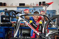 Kristjan Fajt of Cycling Team Adria Mobil poses for a portrait session ahead of the 2014 road season on February 25, 2014 in Cesca vas at Novo mesto, Slovenia. Photo by Vid Ponikvar / Sportida