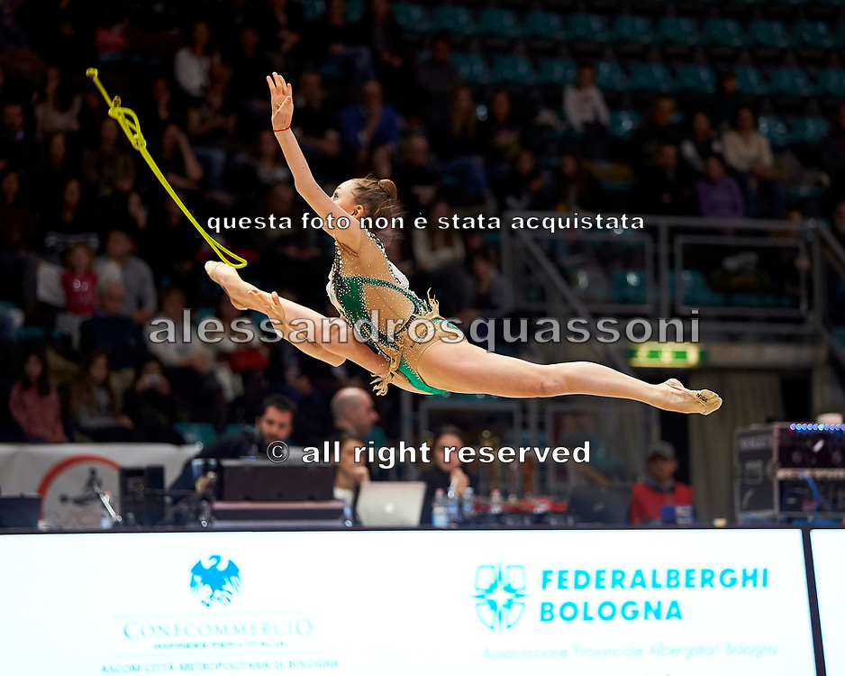 Martina Brambilla from the San Giorgio Desio team during the Italian Rhythmic Gymnastics Championship in Bologna, 9 February 2019.