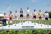 2011/05/28 - The top eight finishers in the 800-meter run at the 2011 NCAA Division-3 Championships in Delaware, Ohio. Fredonia's Nick Guarino won in 1:49.89, having already won the 1500-meter run eighty minutes earlier. Guarino was the first Division-3 runner to win both events since Nick Symmonds in 2006.