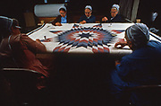 "Amish and Mennonites work on a ""star"" quilt, Lancaster, PA"