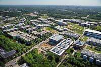 Aerial of Centennial Campus looking towards downtown Raleigh.