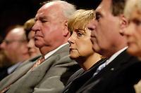 """16 JUN 2005, BERLIN/GERMANY:<br /> Helmut Kohl, CDU, Bundeskanzler a.D., Angela Merkel, CDU Bundesvorsitzende, Michael Glos, CSU, Stellv. Fraktionsvors. CDU/CSU Fraktion, (v.L.n.R.), Festveranstaltung """"60 Jahre CDU. Erfolgreich fuer Deutschland"""", anlaesslich des 60jährigen Bestehens des CDU, Berliner Ensemble <br /> IMAGE: 20050616-02-035"""