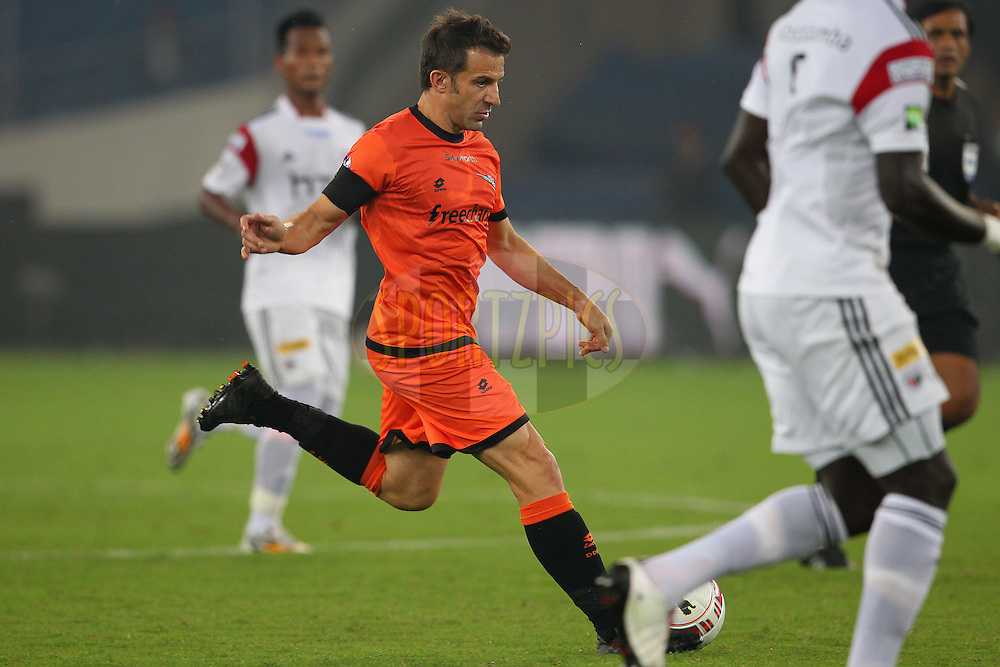 Delhi Dynamos FC captain Alessandro Del Piero during match 16 of the Hero Indian Super League between The Delhi Dynamos FC and NorthEast United FC held at the Jawaharlal Nehru Stadium, Delhi, India on the 29th October 2014.<br /> <br /> Photo by:  Ron Gaunt/ ISL/ SPORTZPICS
