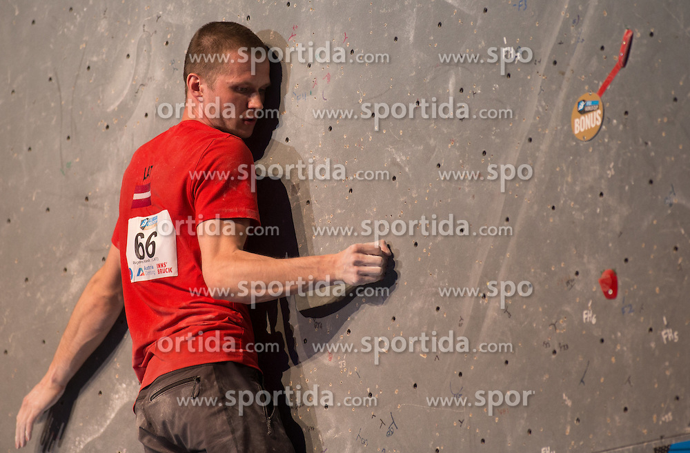 20.05.2016, Olympiaworld, Innsbruck, AUT, ISFC, Climbing World Cup, Finale, im Bild Rolands Rugens (LAT) // Rolands Rugens of Latvia during final of the IISFC Climbing World Cup at the Olympiaworld in Innsbruck, Austria on 2016/05/20. EXPA Pictures © 2016, PhotoCredit: EXPA/ Jakob Gruber