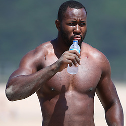 DURBAN, SOUTH AFRICA, December 10. 2015 - Tjiuee Uanivi during The Cell C Sharks Pre Season Beach South Beach training for the 2016 Super Rugby Season . (Photo by Steve Haag)<br /> images for social media must have consent from Steve Haag