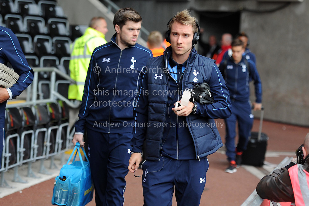 Tottenham player Christian Eriksen arrives off the team bus ahead of the game. Barclays premier league match, Swansea city v Tottenham Hotspur  at the Liberty Stadium  in Swansea, South Wales on Sunday 4th October 2015.<br /> pic by  Andrew Orchard, Andrew Orchard sports photography.