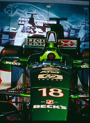 Jaguar formula 1 race car seen at the Chicago Auto Show in 2001, McCormack Place, Chicago IL...This image was scanned from a slide, print or transparency.  Image quality may vary.  Dust and other unwanted artifacts may exist.