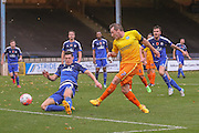 Wycombe Wanderers midfielder Garry Thompson  scores during the The FA Cup match between FC Halifax Town and Wycombe Wanderers at the Shay, Halifax, United Kingdom on 8 November 2015. Photo by Simon Davies.