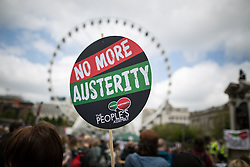 "© Licensed to London News Pictures . 23/05/2015 . Manchester , UK . A demonstration , organised by "" The People's Assembly "" , against austerity in Piccadilly Gardens in Central Manchester , attended by approximately 2000 people . Photo credit : Joel Goodman/LNP"
