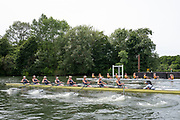 """Henley on Thames, United Kingdom, 23rd June 2018, Saturday,   """"Henley Women's Regatta"""",  view, A heat of the Women's Championship Eights, Near, """"Yale University, USA [B]"""" Crew racing against, """"Iowa University, USA"""",  Henley Reach, River Thames, England, © Peter SPURRIER"""