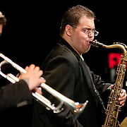 May 14, 2011 - Manhattan, NY : .The O'Farrill Brothers Band, including Adam O'Farrill (trumpet), Livio Almeida (tenor sax) and Adam Kromelow (piano - NOT PICTURED) perform Adam O'Farrill's 'Full Measure' during Symphony Space's Wall to Wall Sonidos concert on Saturday night. .CREDIT: Karsten Moran for The New York Times