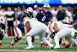 Auburn Tigers quarterback Jarrett Stidham (8) calls an audible at the line during the 2018 Chick-fil-A Peach Bowl NCAA football game against the UCF Knights on Monday, January 1, 2018 in Atlanta. (Paul Abell / Abell Images for the Chick-fil-A Peach Bowl)