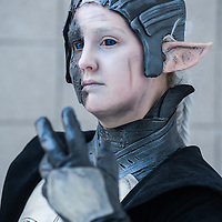 London, UK - 15 March 2014: a cosplay called Marlies dressed as Malekith poses for a picture during the London Super Comic Con at Excel.
