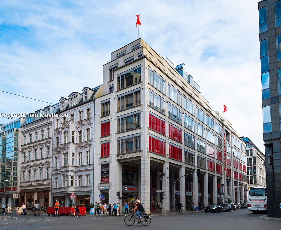 Exterior of large bookstore and media shop Dussmann on Friedrichstrasse in Mitte, Berlin, Germany.