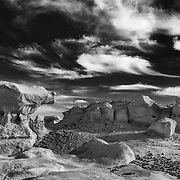 Impossible Rock And Big Sky - Bisti Badlands - New Mexico - Black & White