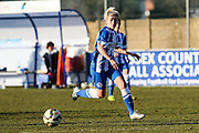 Danielle Rowe in action during the FA Women's Sussex Challenge Cup semi-final match between Brighton Ladies and Hassocks Ladies FC at Culver Road, Lancing, United Kingdom on 15 February 2015. Photo by Geoff Penn.
