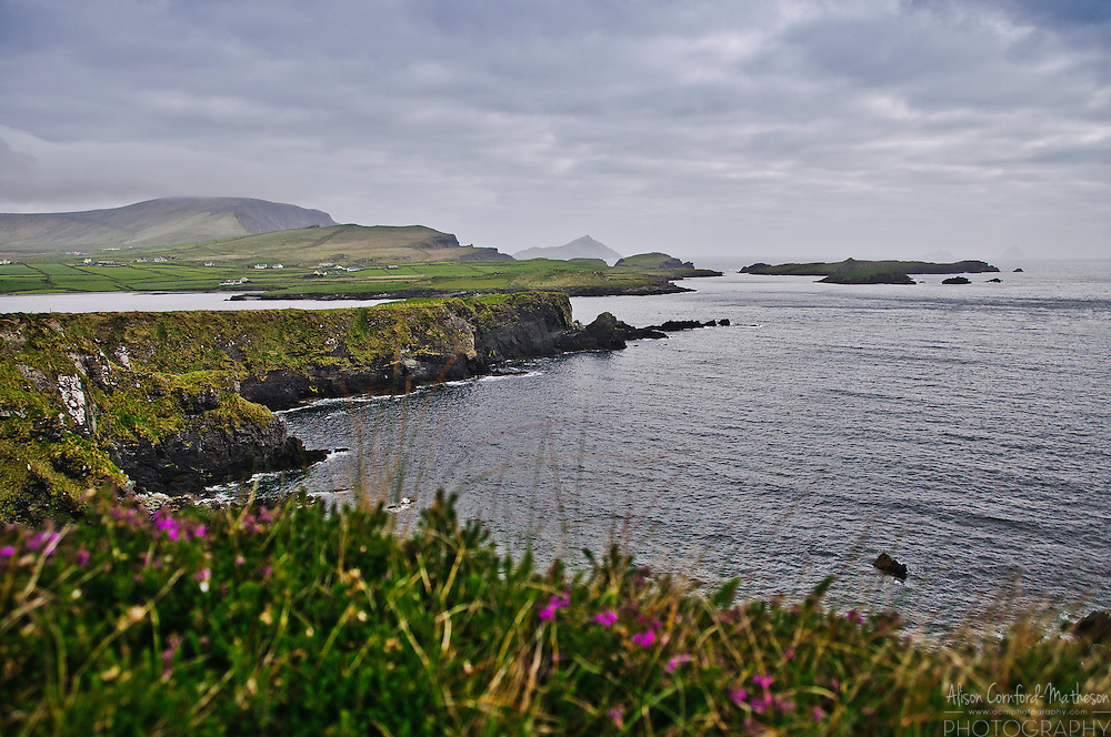 View from Telegraph Field, Valentia Island: Foilhommerum, the site of the transatlantic telegraph cable. The Skellig Islands are visible.