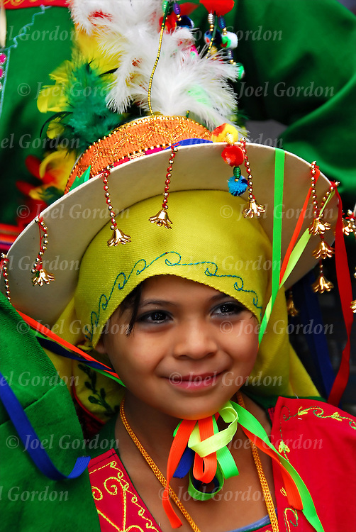 Smiling girl in the United Hispanic American Parade along Fifth Avenue to showcase its beauty and traditions, culture and folklore. Bolivian Americans Celebrate