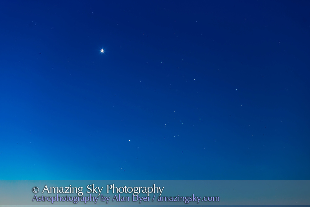 Venus (above), Aldebaran (below) and the Hyades star cluster in a closeup set into the dawn twilight on the morning of July 13, 2017. <br /> <br /> A single tracked exposure with the 200m lens and Canon 6D.