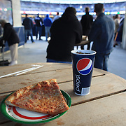 Fast food Pizza and Pepsi Cola during the New York Yankees V Baltimore Orioles Baseball game at Yankee Stadium, The Bronx, New York. 30th April 2012. Photo Tim Clayton