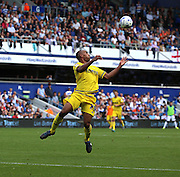Chris O'Grady (Nottingham Forest striker) about to chest the ball with another Forest attack. The game changed after the sending off and Forest dominated during the Sky Bet Championship match between Queens Park Rangers and Nottingham Forest at the Loftus Road Stadium, London, England on 12 September 2015. Photo by Matthew Redman.