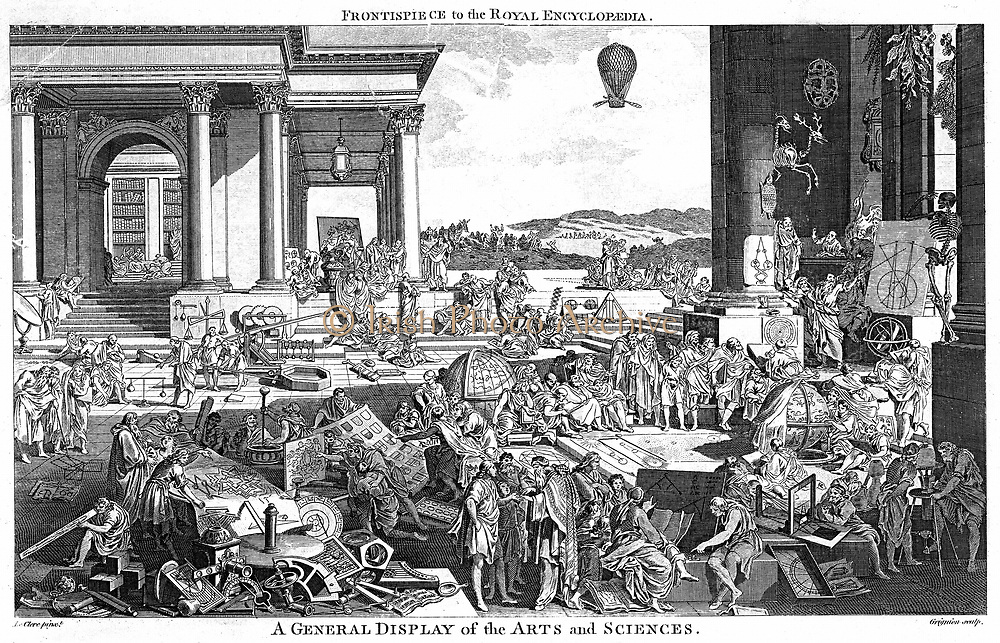 A General Display of Arts and Sciences. Engraving by Reynolds Grignion  after the picture by Leclerc. In this version, to be topical,  Grignion has included a balloon (1783) and landscape in the centre distance, rather than the original colonnade.  Fronti