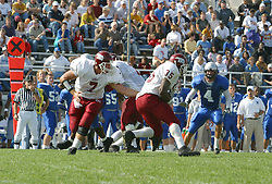 12 October 2002: Travis Turner hands off to Terry Ennis.  Eastern Illinois University Panthers host and defeat the Colonels of Eastern Kentucky during EIU's Homecoming at Charleston Illinois.